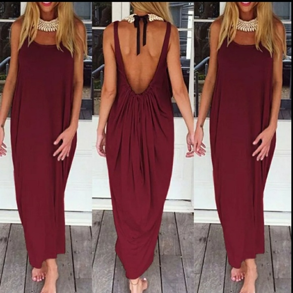 Dresses | Plus Size Wine Color Maxi Dress | Poshmark